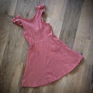 Zara Girls Red & White Striped Dress, Size 9